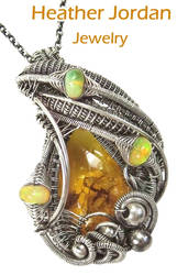 Baltic Amber and Opal Pendant with Spider and Fly by HeatherJordanJewelry