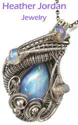 Mexican Tizate n Ethiopian Opal Wire-Wrap Pendant by HeatherJordanJewelry