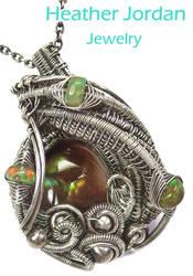 Mexican Fire Agate n Ethiopian Opal Pendant in SS by HeatherJordanJewelry