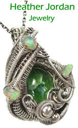 Chrome Diopside and Ethiopian Opal Pendant in SS by HeatherJordanJewelry