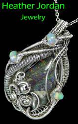 Honduran Black Opal n Ethiopian Opal Pendant in SS by HeatherJordanJewelry