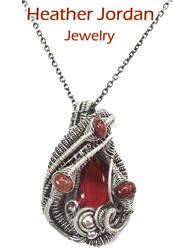 Wire-Wrapped Mexican Fire Opal Pendant in Sterling by HeatherJordanJewelry