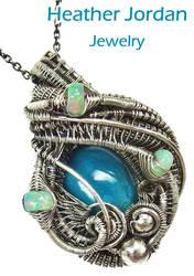 Chrysocolla Wire-Wrapped Pendant in SS w Opals by HeatherJordanJewelry