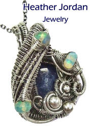 Natural Blue Sapphire and Opal Pendant by HeatherJordanJewelry