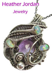 Pink Amethyst Wire-Wrapped Pendant with Opals in S by HeatherJordanJewelry