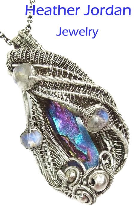 Wire-Wrapped Sunshine Titanium Quartz Crystal Pend by HeatherJordanJewelry