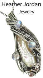 Ivory Cream Biwa Stick Freshwater Pearl Pendant by HeatherJordanJewelry