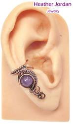 Amethyst and Copper Woven Bezel Wire Ear Cuff by HeatherJordanJewelry
