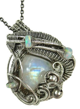 Rainbow Moonstone Wire-Wrapped Pendant SS w Opals
