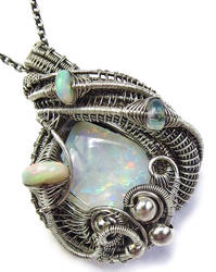 Australian Opal Wire-Wrapped Pendant w Opals in SS by HeatherJordanJewelry