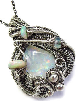 Australian Opal Wire-Wrapped Pendant w Opals in SS