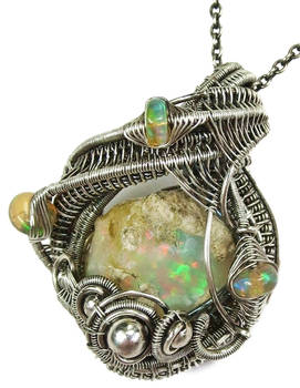 Ethiopian Desert Opal Pendant Wire-Wrapped in SS