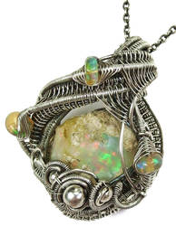 Ethiopian Desert Opal Pendant Wire-Wrapped in SS by HeatherJordanJewelry