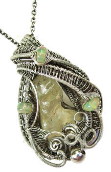 Libyan Desert Glass and Ethiopian Opal Pendant
