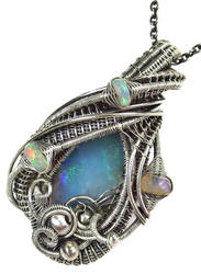 Australian and Ethiopian Opal Pendant in Sterling by HeatherJordanJewelry