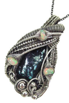 Black Biwa Stick Freshwater Pearl and Opal Pendant