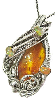 Amber with Fruit Flies and Ethiopian Opal Pendant