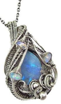 Australian Opal Wire-Wrapped Pendant in Sterling S