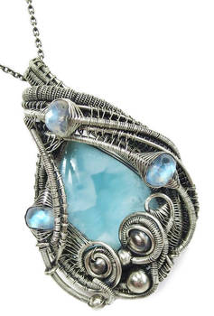 Larimar and Rainbow Moonstone Pendant in SS