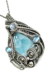 Larimar and Rainbow Moonstone Pendant in SS by HeatherJordanJewelry