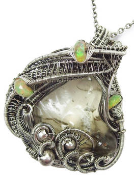 Libyan Desert Glass and Ethiopian Opal Pendant