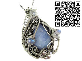 Blue Chalcedony Pendant with Rainbow Moonstone