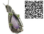 Amethyst Wire-Wrapped Pendant with Peridot in SS