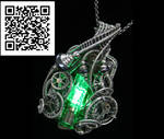 Green Nixie Tube Steampunk Pendant