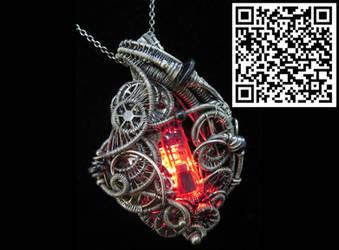 Red LED Nixie Tube Cyberpunk-Steampunk Pendant