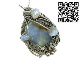 Blue Chalcedony and Rainbow Moonstone Pendant