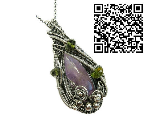 Amethyst Pendant in Sterling Silver with Peridot