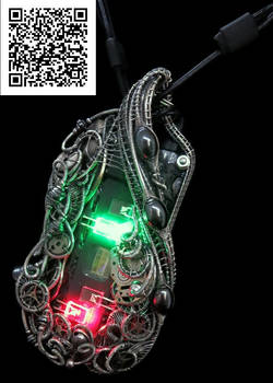 Iridescent Chip Steampunk/Cyberpunk Fusion Necklac