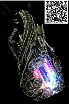Rainbow U-Flashbulb Necklace with Upcycled Electro