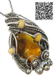 Baltic Amber Pendant with Mosquito, Leaf Fragment