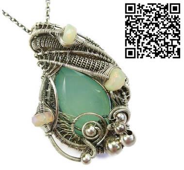 Aqua Chalcedony Pendant with Ethiopian Welo Opals