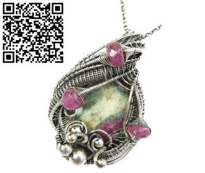 Ruby Fuschite Wire-Wrapped Pendant w Pink Sapphire