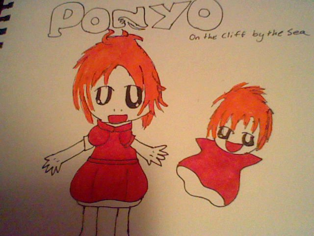 Ponyo on the Cliff by the Sea by ribby2000 on DeviantArt