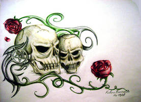 Skulls and Roses by scissormetimbers