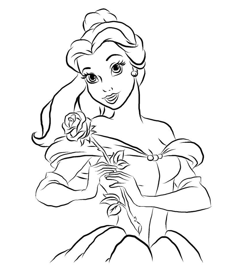 Belle Outline By Pinkiepiedare On Deviantart Disney Princess Outlines