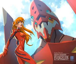 Asuka Langley and EVA-02 by DonoMX