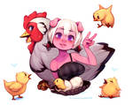 Emelie and chickens
