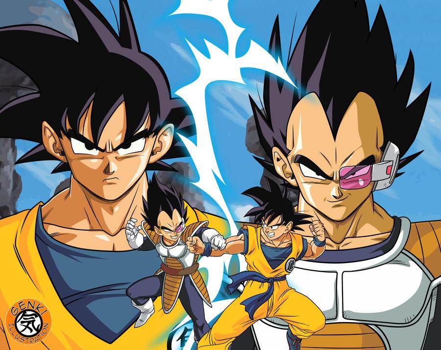Para ti, quais são as personagens com melhor design? Goku_vs_vegeta_by_genkidbz-d484grq