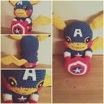 Pikachu Captain America Amigurumi