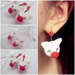 Moogle Earrings (Crocheted)