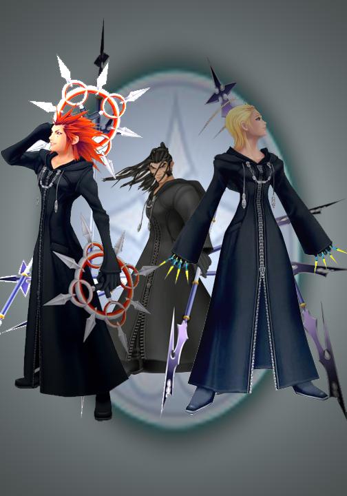Axel, Larxene, and Xaldin by NirinaIllusier