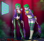 Jokerized Batwoman and Batgirl commission