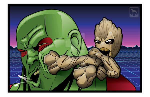 Baby Groot vs Drax by GIG-Arts