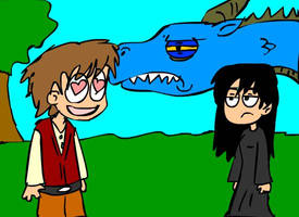 Eragon, Saphira, and Arya by Hanmo