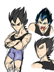 A Black Sheet of Water Vegeta sketches by Griffon5000