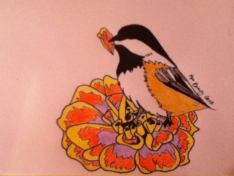 Chickade on Marigold by Galialay